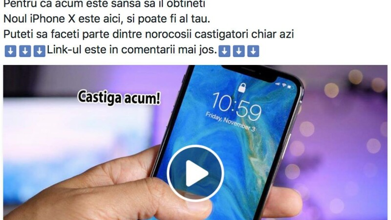 Campanie înșelătoare pe Facebook, care are ca premiu un iPhone X
