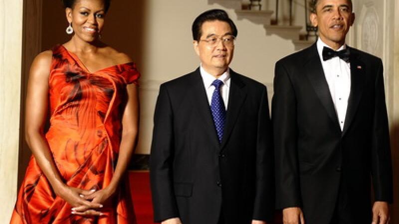 Michelle Obama, Hu Jintao si Barack Obama