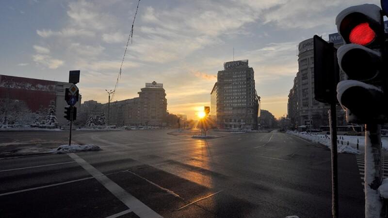 Bucurestiul pe 1 ianuarie 2015, la primele ore ale diminetii. Orasul pare o capitala abandonata. FOTO