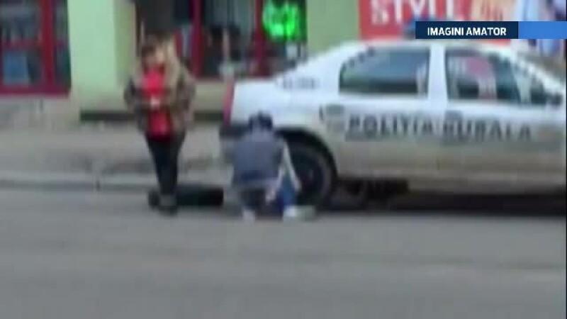 Ancheta la Politia Buzau, dupa ce au aparut imagini in care un adolescent schimba roata masinii unui echipaj. VIDEO