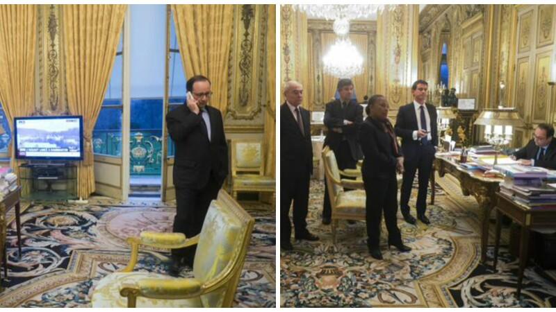 Momentele in care Francois Hollande urmarea din birou asaltul simultan al fortelor speciale pentru uciderea teroristilor