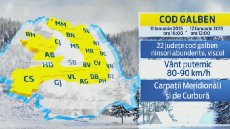 COD GALBEN de ninsori si vant in 22 de judete. HARTA zonelor afectate de zapada si viscol