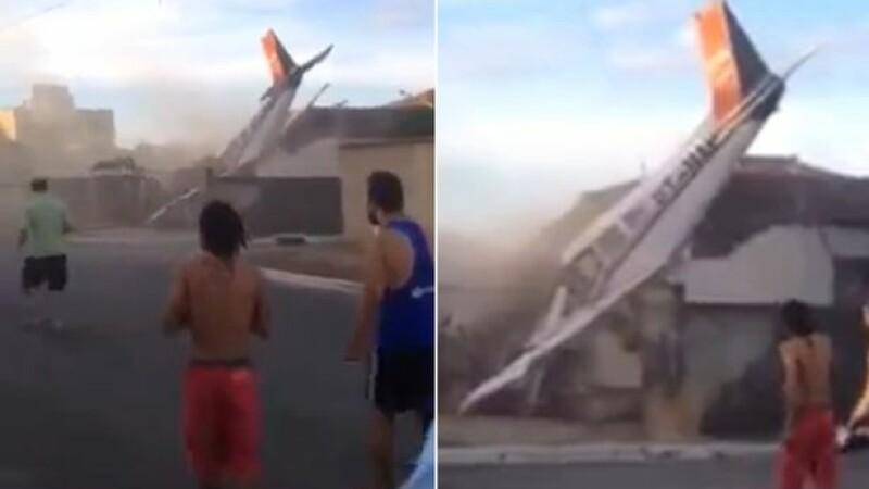 Avion de mici dimensiuni, prabusit peste o casa in Brazlia. Doi oameni au murit. VIDEO