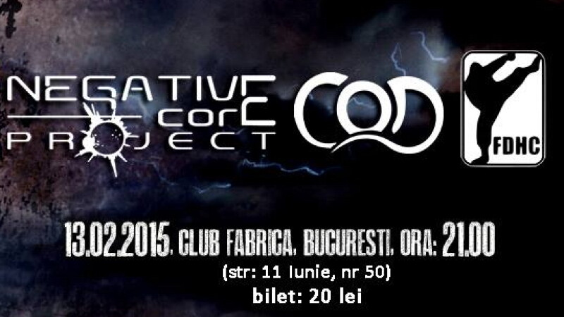 Concert Cap de Craniu, Negative Core Project, C.O.D. si First Division in Club Fabrica, pe 13 februarie