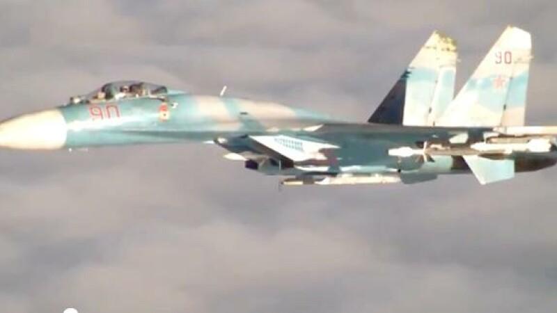Un avion rusesc de vanatoare Su-27 a efectuat o interceptare periculoasa a unei aeronave americane deasupra Marii Negre