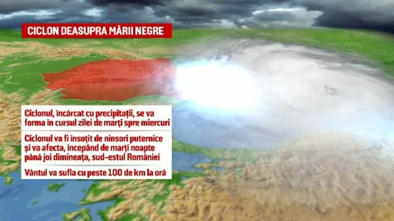 Un ciclon se formeaza deasupra Marii Negre si va lovi Dobrogea. Urmarile acestui fenomen pentru Romania