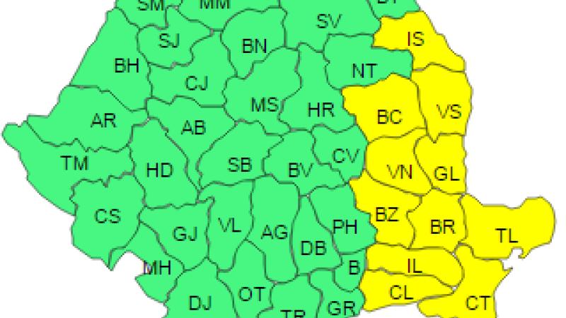 Cod galben de ninsori si viscol in 11 judete, pana la ora 23:00. De joi, in toata tara vom avea vant puternic si polei