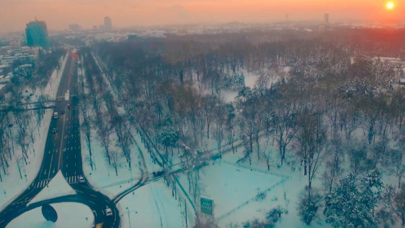 Bucurestiul inzapezit poate fi si magic. Filmare cu drona deasupra Capitalei dupa ninsori