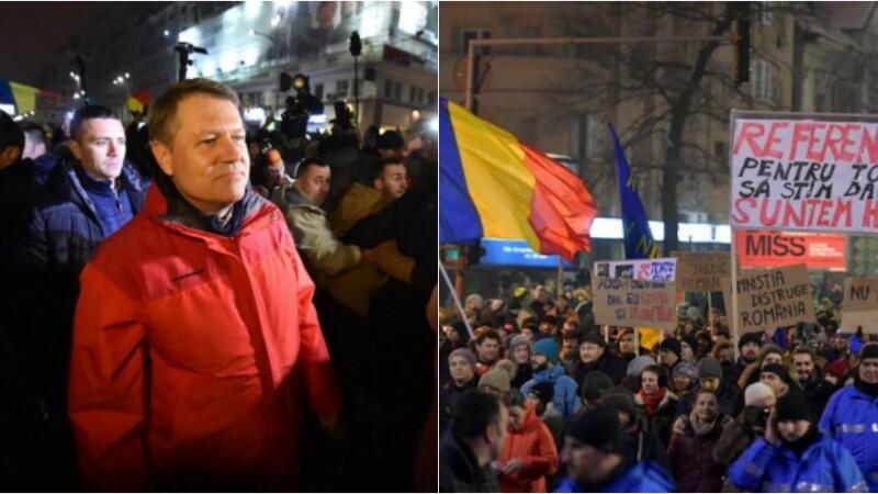 20.000 de oameni au protestat pasnic in Capitala fata de legea gratierii. Iohannis, prezent la Universitate. VIDEO si FOTO