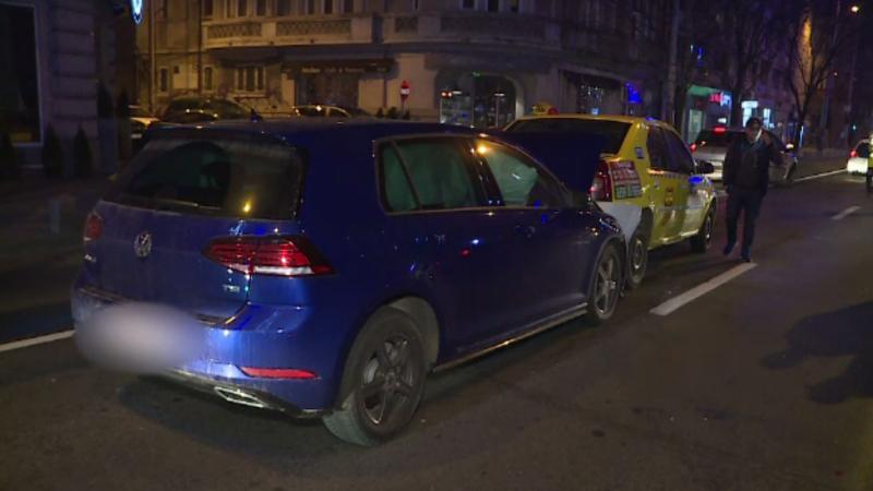 Accident în lanț, în Capitală, provocat de un pieton care a traversat printr-un loc nepermis