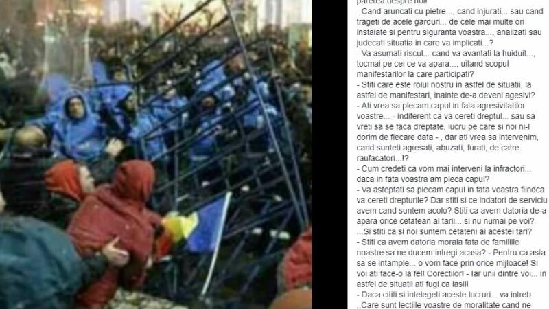 jandarm, mesaje, proteste, facebook,