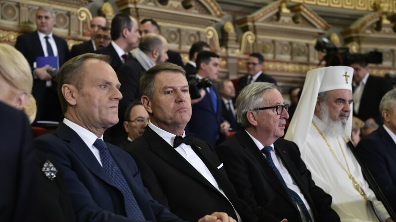 Presedintele Consiliului European, Donald Tusk, presedintele Romaniei, Klaus Iohannis, presedintele Comisiei Europene, Jean Claude Juncker si Patriarhul Bisericii Ortodoxe Romane, PFP Daniel, participa la ceremonia oficiala de lansare a Presedintiei Roman