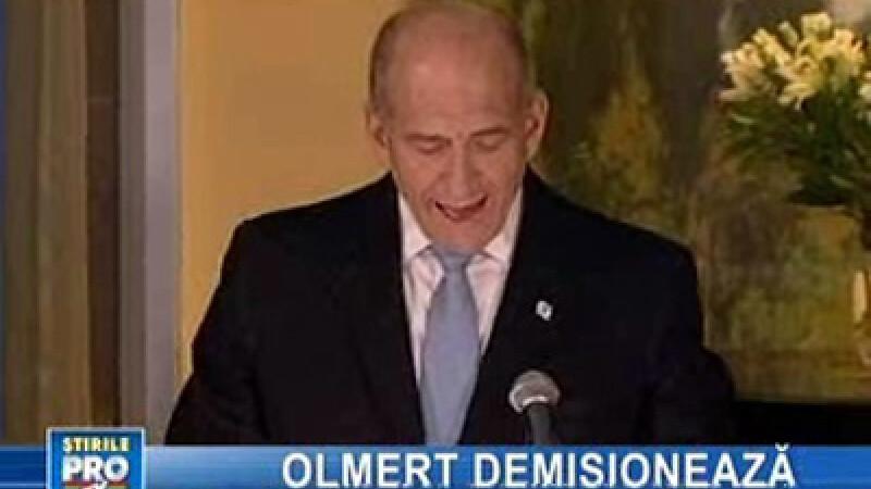 Premierul israelian Ehud Olmert a anunţat că renunţă la putere
