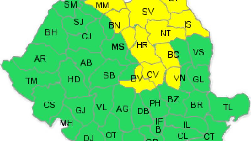 Continua ploile! Codul galben a fost prelungit pana astazi la ora 23:00