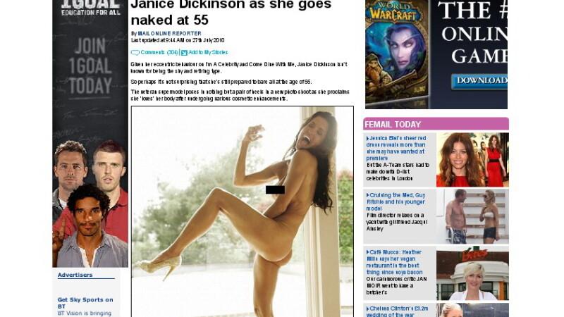 Janice Dickinson, nud in Closer Magazine la 55 de ani