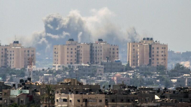 cladiri, fum granita Gaza, Israel