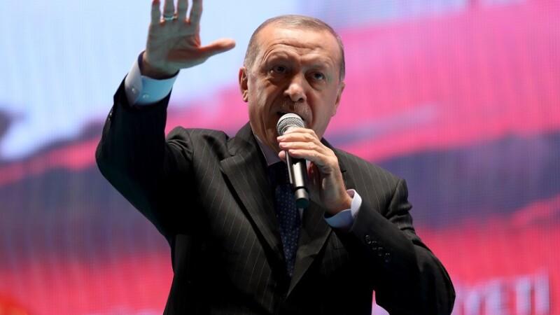 Erdogan la un miting electoral