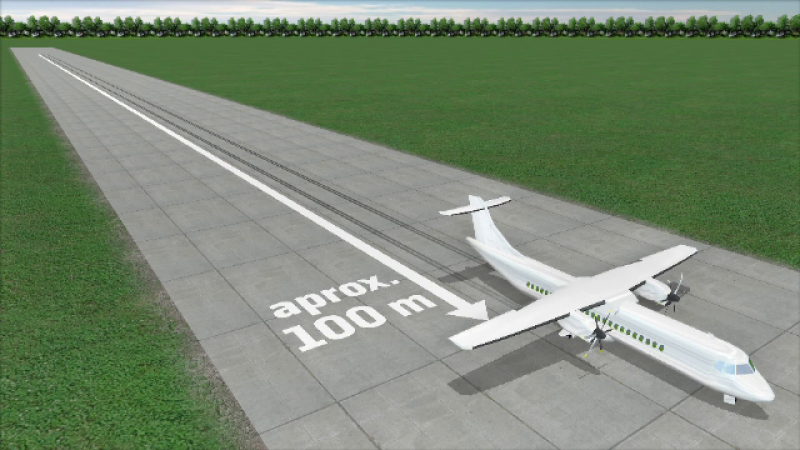 Animatie grafica aterizare avion
