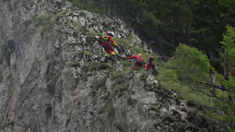 Reacțiile turiștilor care au asistat la o demonstraţie a salvatorilor montani
