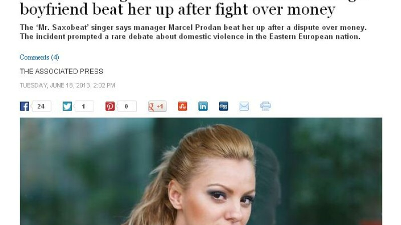 Presa din SUA, despre Alexandra Stan: Incidentul naste o dezbatere aprinsa despre violenta domestica
