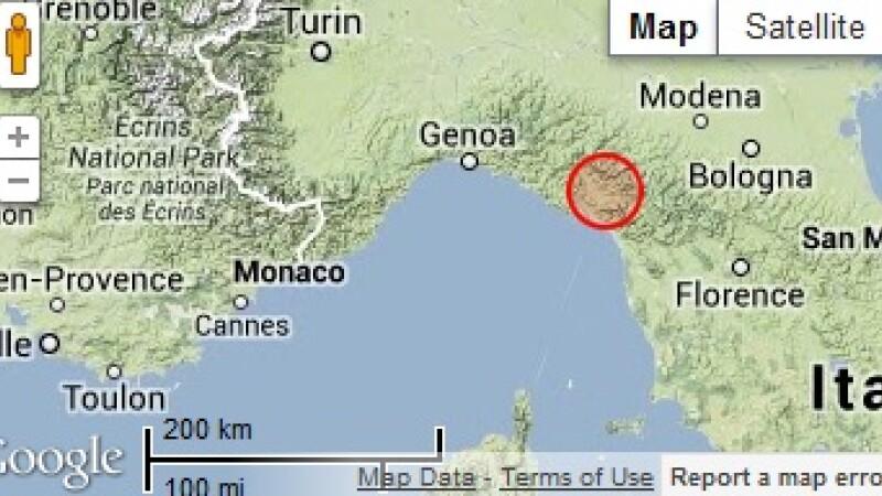 harta Italia, cutremur