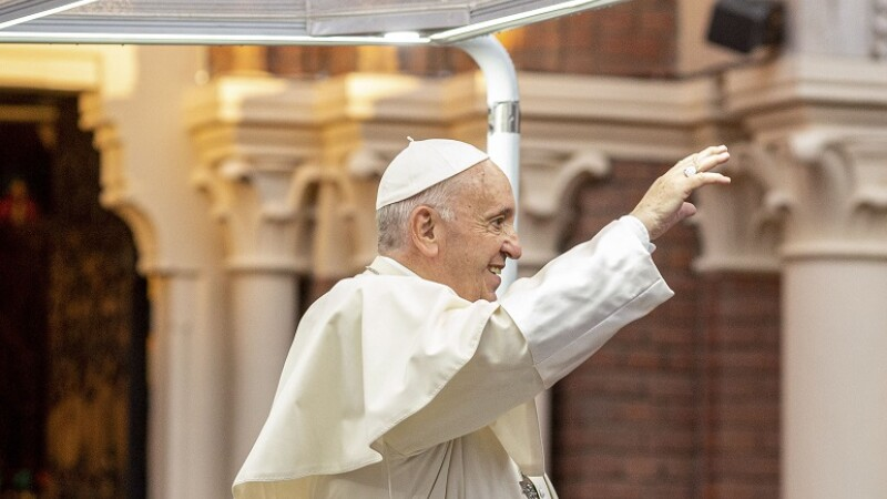 Papa Francisc paraseste catedrala Sf. Iosif din Bucuresti,