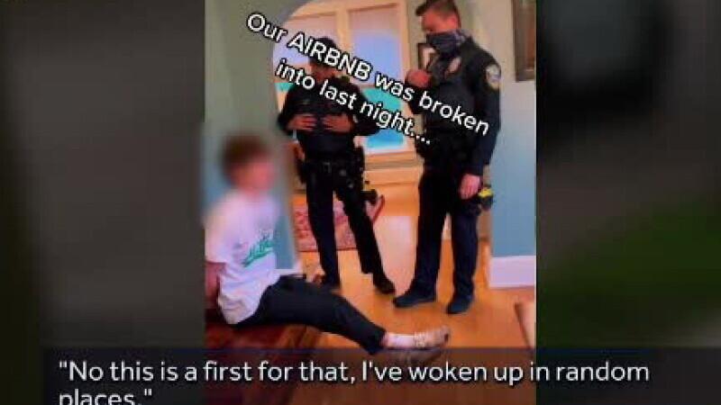 Video viral. Trei polițiști au încătușat un tânăr băut care a intrat noaptea în casa lor și a adormit