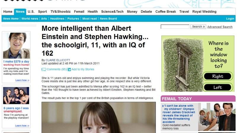 Mai inteligenta decat Einstein si Stephen Hawking. La 11 ani are IQ de 162