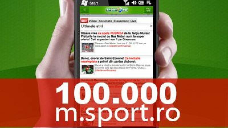 Record istoric! Primul site de telefon mobil care atinge 100.000 de vizite intr-o zi: M.SPORT.RO