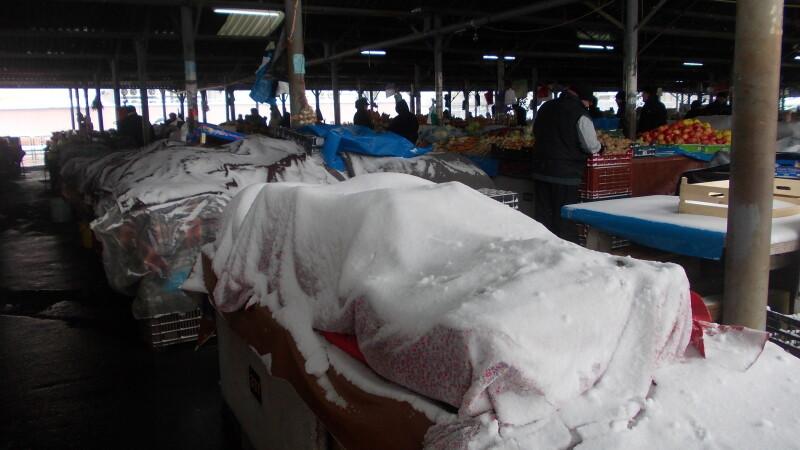 Pentru a feri de inghet fructele si legumele de pe tarabe, comerciantii le-au acoperit cu paturi