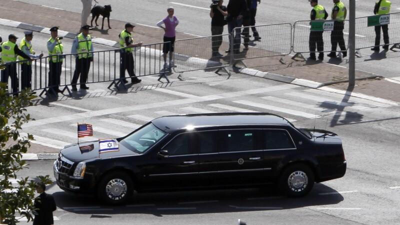 Masina lui Barack Obama in Israel