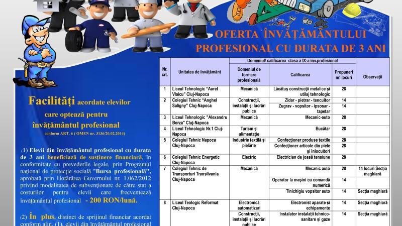 Invatamantul profesional promovat in judetul Cluj