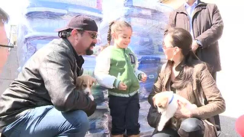 Steven Seagal a adoptat doi catei de la un adapost din Bucuresti, pe Tache si pe Ringo. Mesajul actorului pentru toti romanii