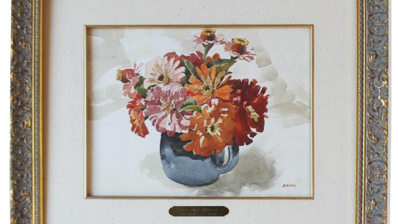 tablou cu flori pictat de Hitler