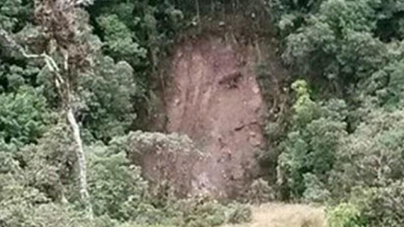 Chipul lui Iisus aparut pe un deal impadurit din Columbia, dupa o alunecare de teren. \