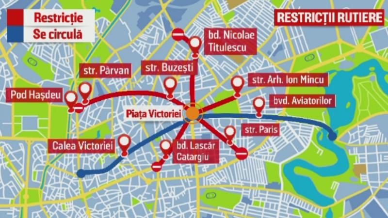 Restrictii de trafic miercuri in Capitala, pentru doua mitinguri. Zonele unde circulatia va fi oprita