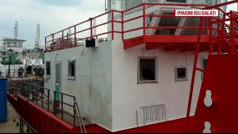 Explozie pe nava in Galati