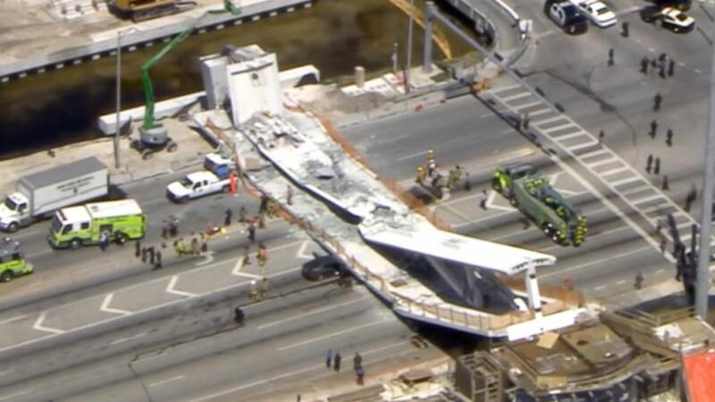 O pasarelă s-a prăbușit peste un drum aglomerat, în Miami. Sunt mai mulți morți. VIDEO