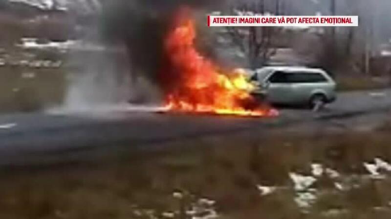 Doi soți au ars de vii, după ce mașina lor a fost lovită de un șofer cu volan pe dreapta
