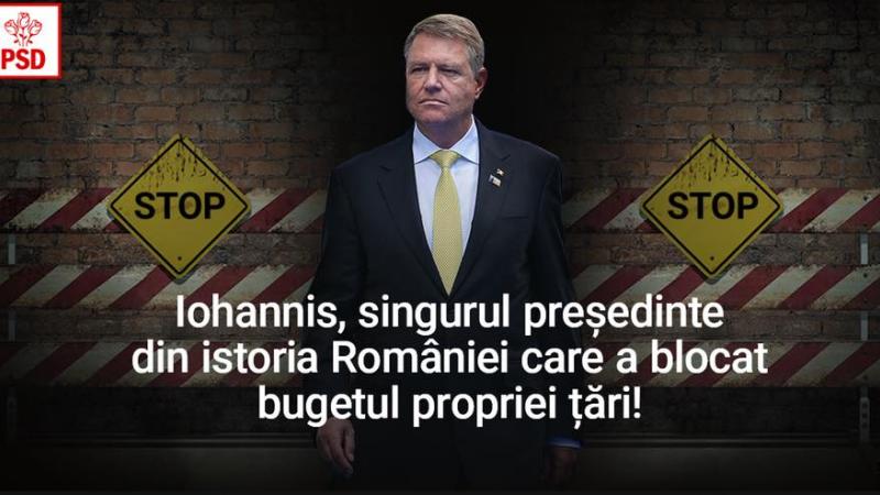 PSD îl atacă pe Iohannis pe Facebook după respingerea bugetului. \