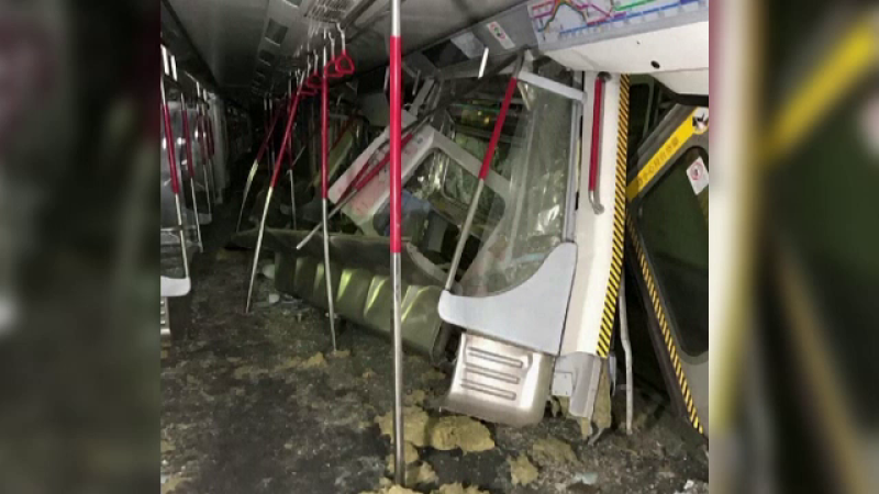 Accident la metroul din Hong Kong. Două trenuri s-au ciocnit violent în timpul unor teste