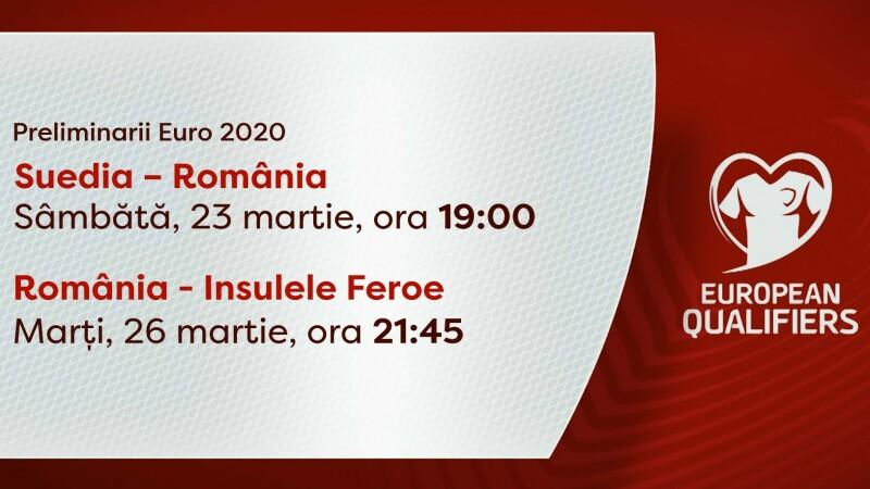 EURO 2020. Meciurile României cu Suedia și Insulele Feroe, transmise în direct la PRO TV
