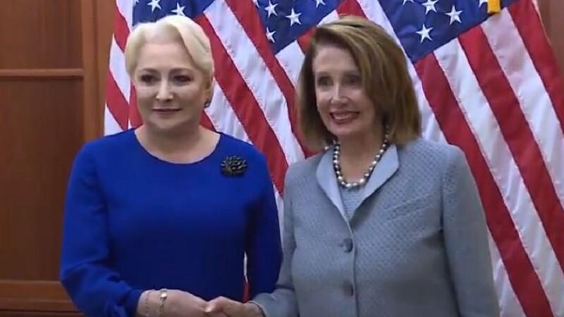 Viorica Dăncilă s-a întâlnit cu preşedintele Camerei Reprezentanţilor din Congresul SUA, Nancy Pelosi