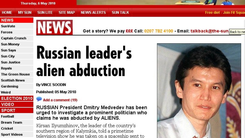 "Politician rus: ""Am fost rapit de extraterestri!"""
