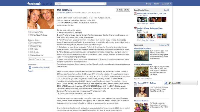 Mesaj adio Facebook