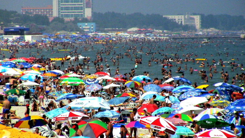 Plaja, turisti, litoral, mare
