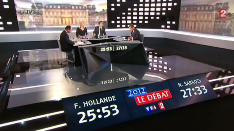 Schimb dur de replici intre Sarkozy si Hollande la ultimul duel direct.