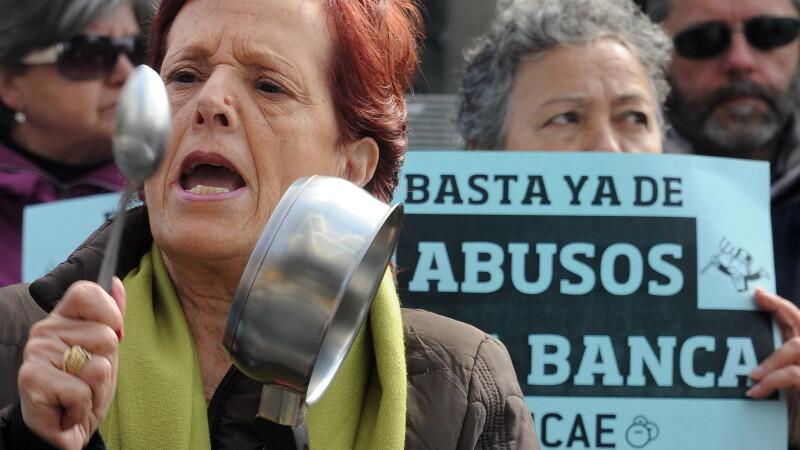 Proteste in Spania fata de banci