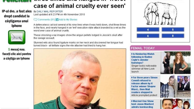 Cel mai grav caz de torturare a animalelor!Impuscata de 3 ori si spanzurata