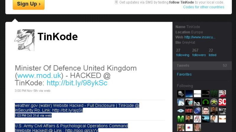 Contul de Twitter al lui TinKode